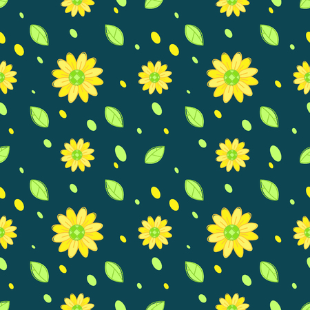 Sunflower seamless pattern vector dark background Ilustração
