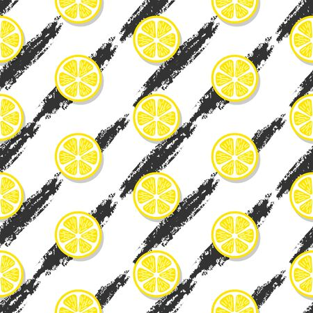 Modern lemon seamless pattern vector background Ilustração