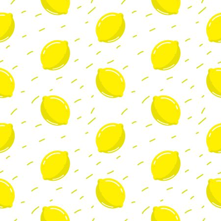 Lemon seamless pattern white vector background