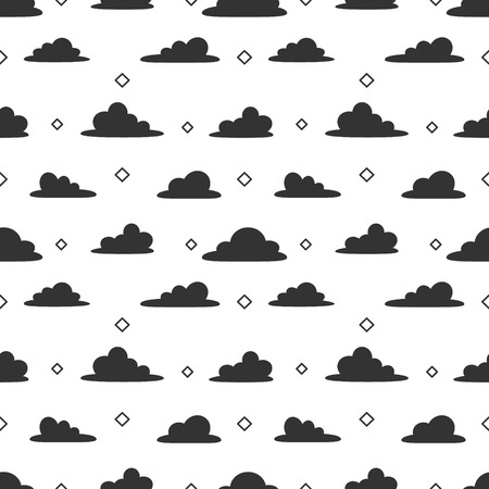 Cloud cartoon seamless pattern vector white background