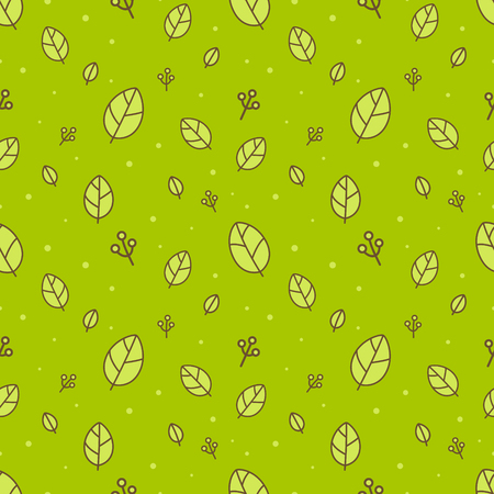 Retro leaves seamless pattern vector green background