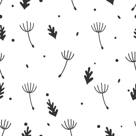 Retro dandelion seamless pattern vector white background Ilustração