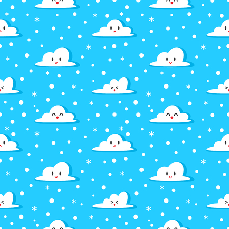 Cute cloud cartoon seamless pattern vector with blue background