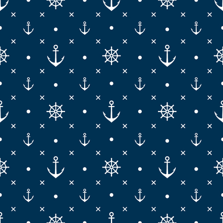 Anchor seamless pattern vector white background