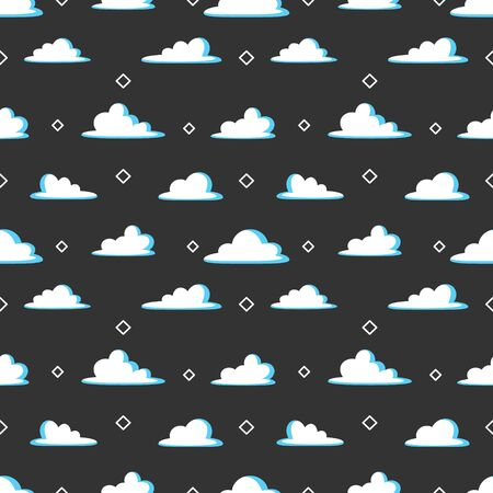 Cloud cartoon seamless pattern vector black background