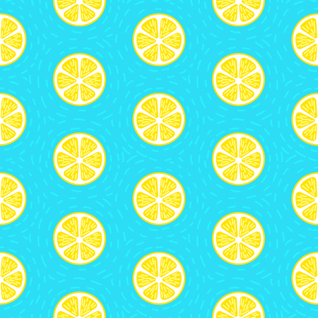 Lemon seamless pattern blue vector background