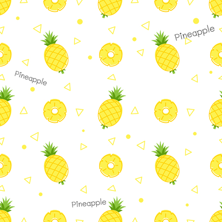 Pineapple cartoon seamless pattern vector white background