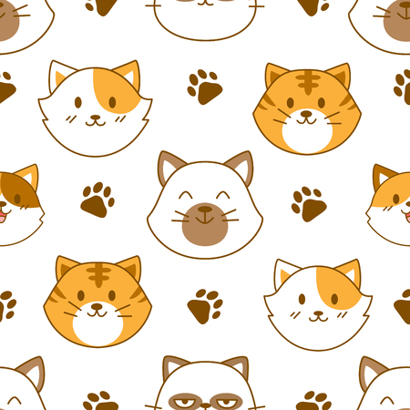 Cute cat face seamless pattern vector background
