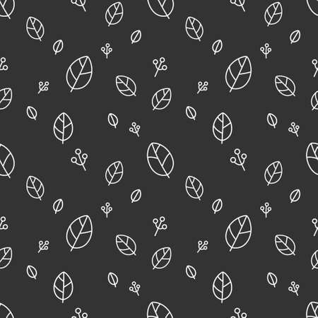 Retro leaves seamless pattern vector black background Ilustração