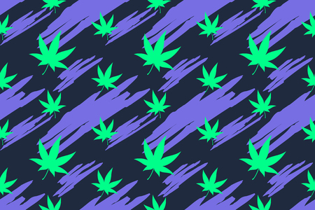 Flashy color cannabis leaves seamless pattern background
