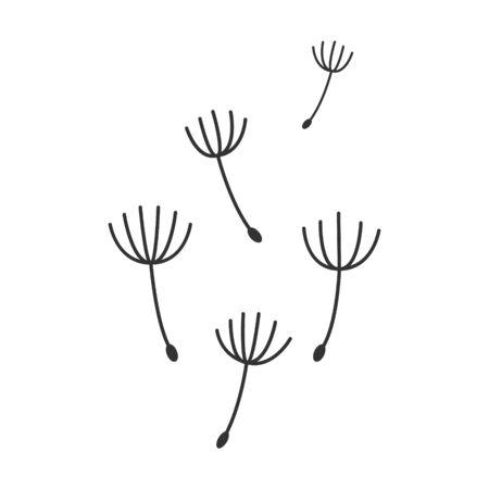 Blazende paardebloemen geïsoleerde vectorillustratie