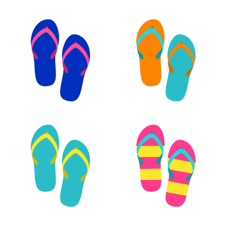 colorful sandals isolated vector  illustration Ilustração