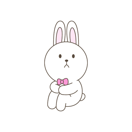 Sad bunny mascot cartoon isolated vector illustration