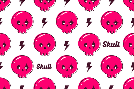 Cute skull seamless pattern vector background Ilustração