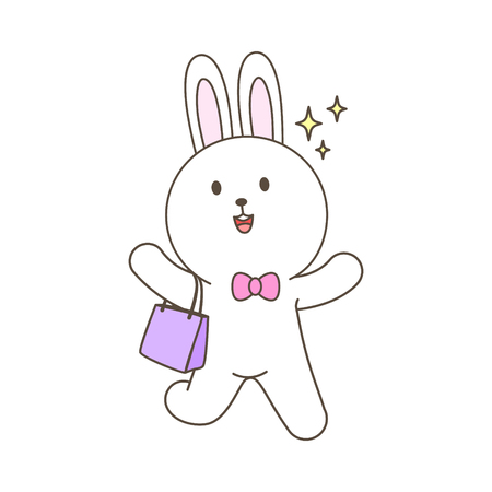 Cute bunny mascot cartoon shopping isolated vector illustration