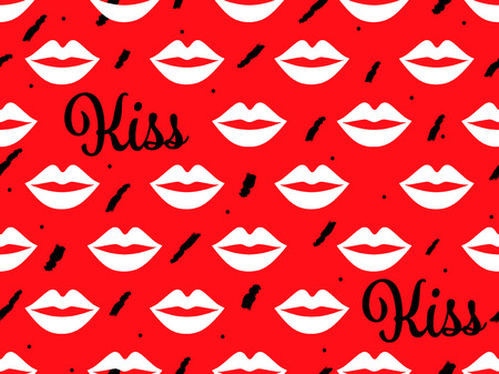 Sexy lip seamless pattern vector red background