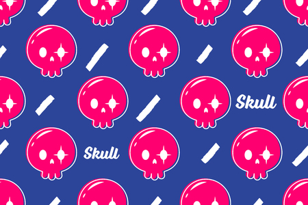 Cute skull seamless pattern vector purple background Ilustração