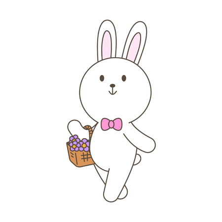 Cute bunny mascot cartoon isolated vector illustration  with flower basket Ilustração