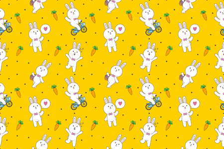 Cute bunny cartoon seamless pattern vector yellow background