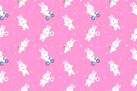Cute bunny cartoon seamless pattern vector background