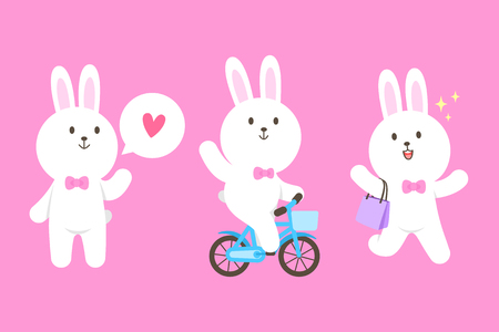 Cute bunny mascot cartoon isolated vector illustration