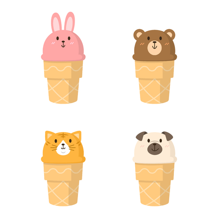 Happy animal face icecream isolated vector illustration