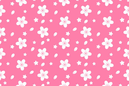 Beautiful sakura flower seamless pattern vector background