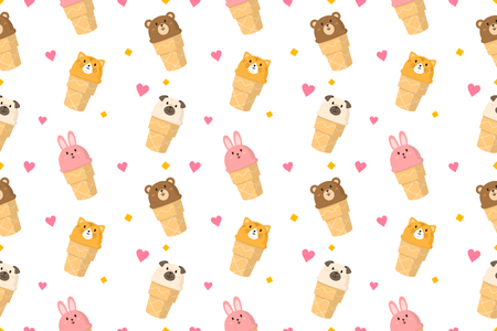Cute animall face icecream seamless pattern vector background