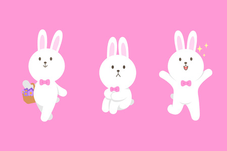 Cute mascot bunny cartoon isolated vector illustration