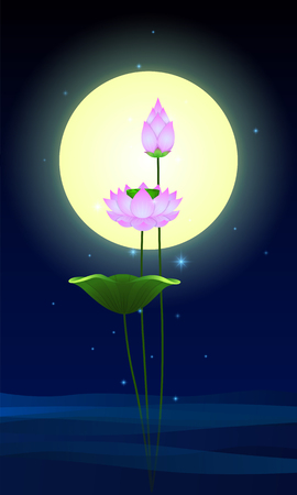 Beautiful lotus flowers with full moon vector illustration Ilustração