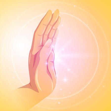 Buddha lighting hand vector illustration