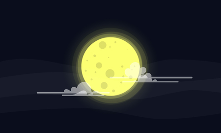 Full moon and clouds night vector background