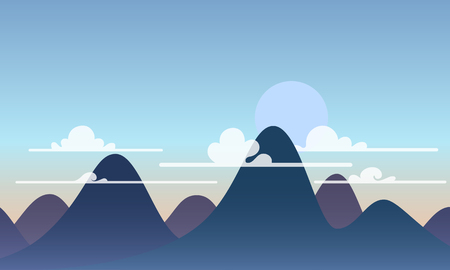 Mountain and clouds landscape vector wallpaper