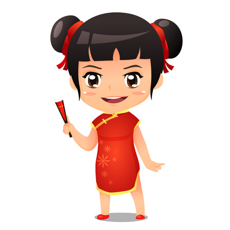 Chines girl in red traditional uniform vector cartoon