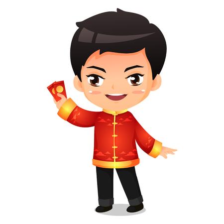 Chines boy in red traditional uniform vector cartoon Ilustração