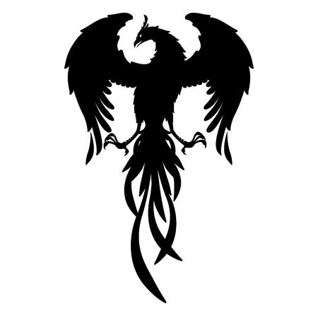Silhouette Phoenix bird isolated vector