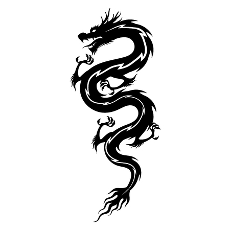 Silhouette chinese dragon isolated vector Ilustração