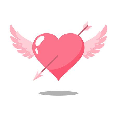 Arrow on heart wings vector Ilustração