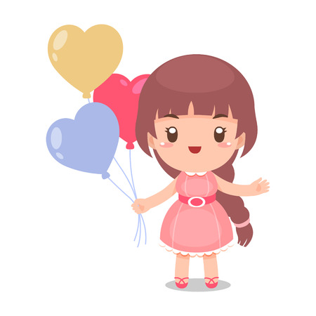 Cute Girl with Balloons vector illustration