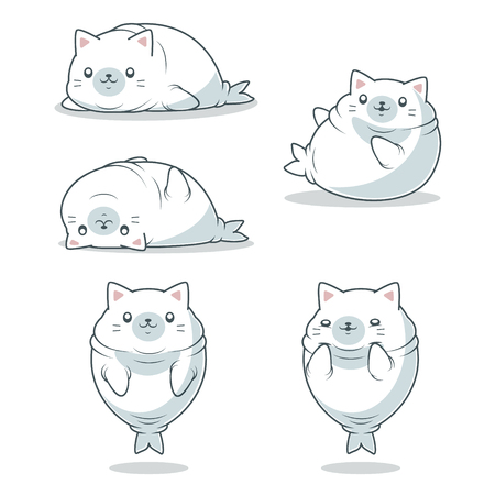 kawaii fat seal with cat ears Illustration