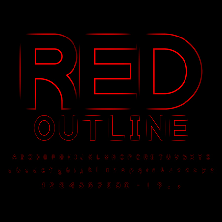 Red out line font vector Ilustrace