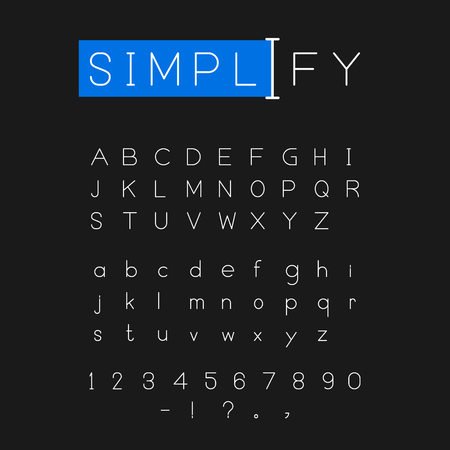 Simplify font vector in vlack background Ilustração