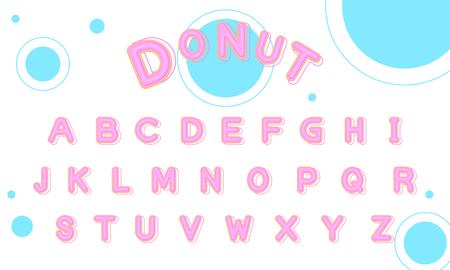 Sweet Donut font uppercase vector Banco de Imagens - 124993943