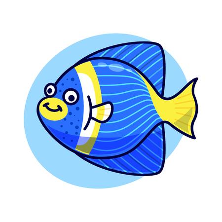 Cute sea fish isolated vector
