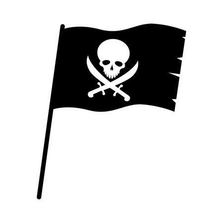 Black pirate skull flag symbol vector Illustration