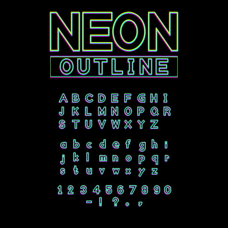 neon glowing light font vector