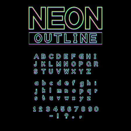 neon glowing light font vector