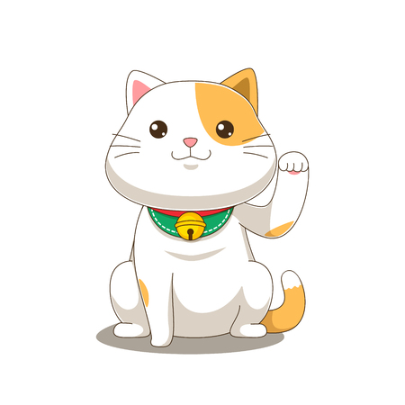 Cute orange cat calling for money vector illustration Banco de Imagens - 124993947