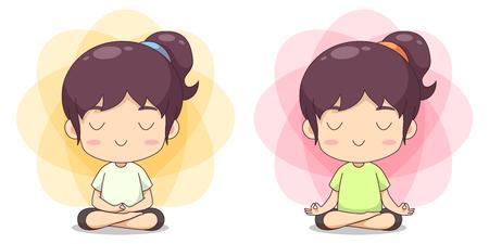 Cute girl do meditation pose vector cartoon Banco de Imagens - 123312209