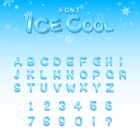 Ice cool upper case vector font Ilustrace